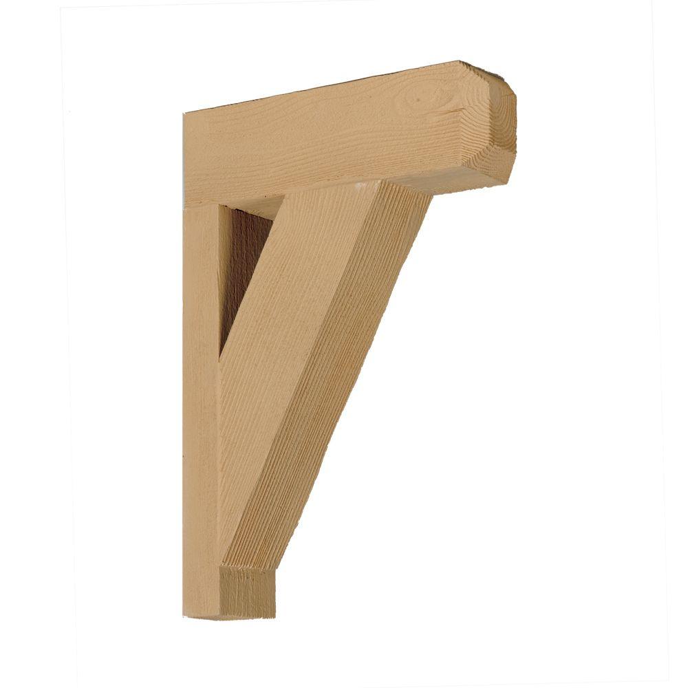 Console en polyuréthane à texture de grain de bois non fini 12 po x 18 po x 3-1/2 po