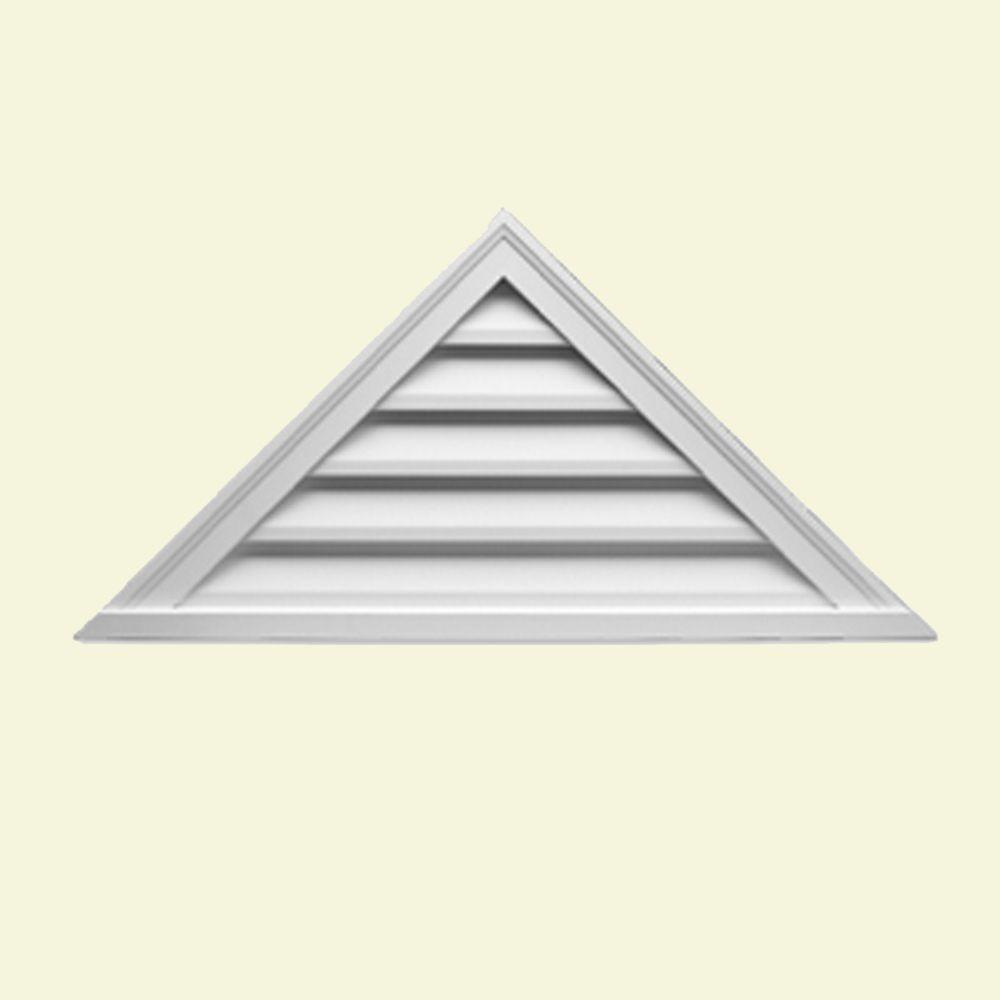 Évent de pignon décoratif triangulaire à persiennes en polyuréthane 65 po x 21 po x 2 po