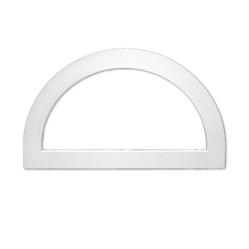 43 3/16-inch x 25 3/16-inch x 1-inch Polyurethane Decorative Trim Half Round Louver Gable Grill V...