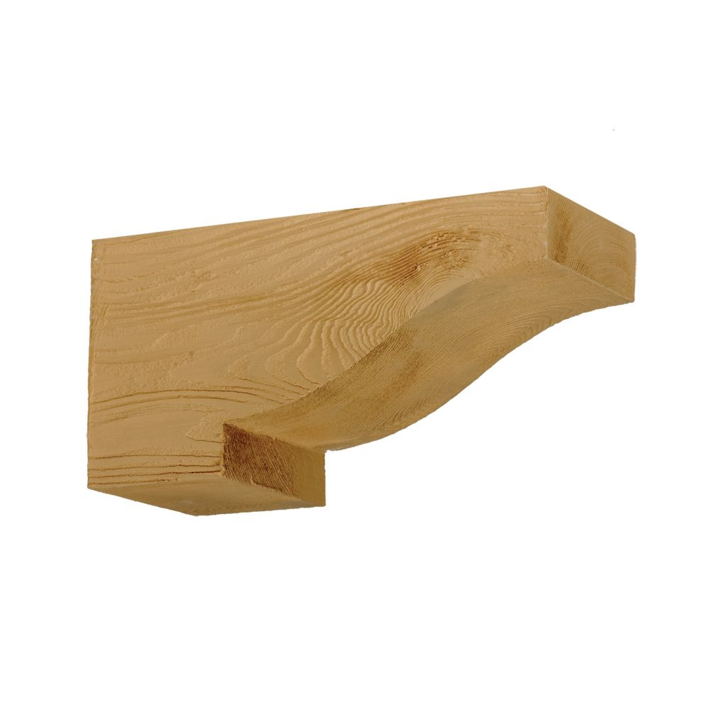 14-1/2 Inch x 6 Inch x 7-1/4 Inch Unfinished Wood Grain Texture Polyurethane Corbel