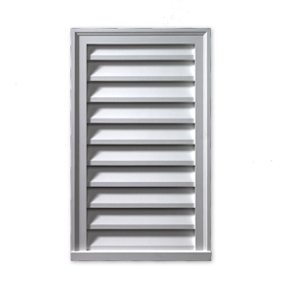 Évent de pignon décoratif rectangulaire vertical à persiennes avec bordure en polyuréthane 19 po ...