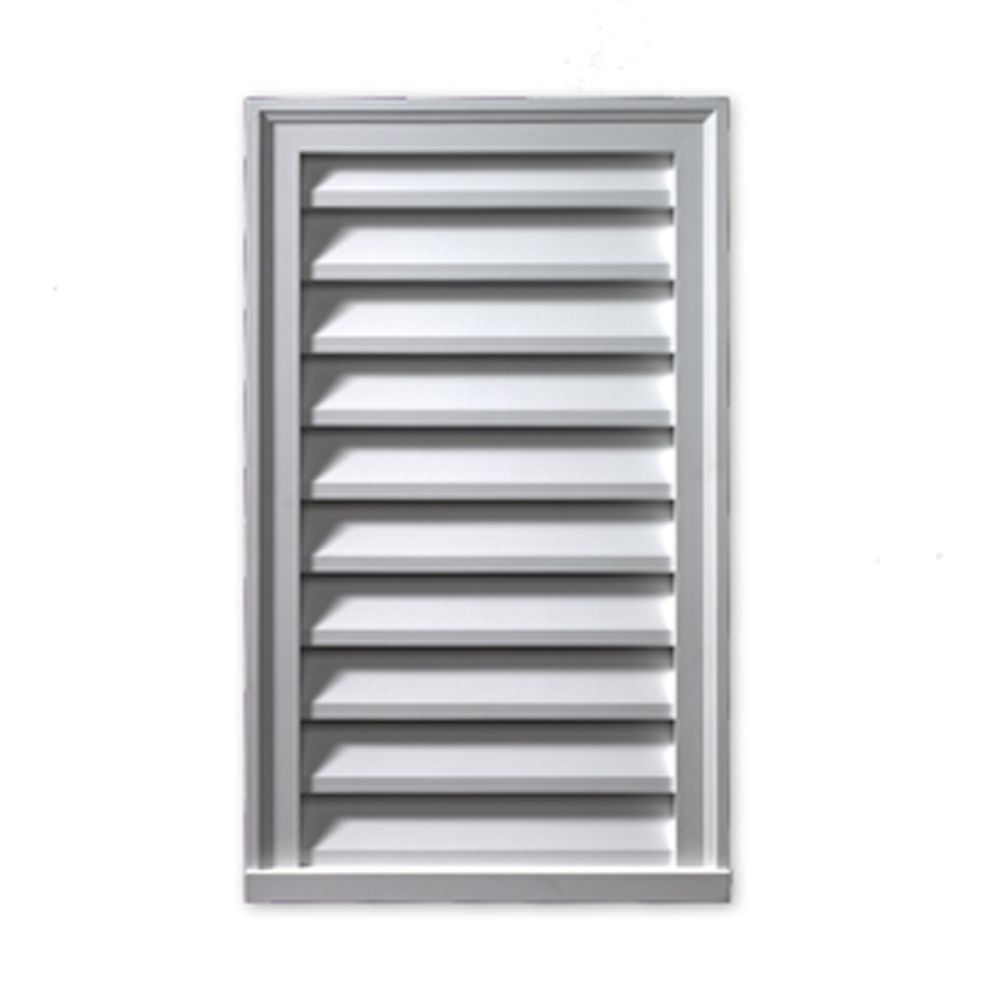 25 Inch x 37 Inch x 2 Inch Polyurethane Decorative Rectangle Vertical Louver Gable Grill Vent wit...