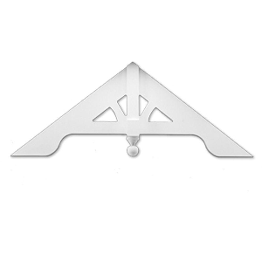 60 Inch x 24 Inch x 3-3/16 Inch Primed Polyurethane Gable Pediment Arched