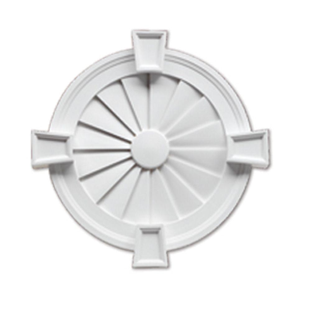 Évent de pignon décoratif lisse à persiennes rondes avec bordure décorative et clé de voûte en po...