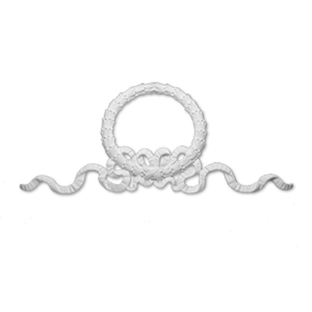 86 Inch x 38 Inch x 2-3/4 Inch Primed Polyurethane Wreath and Bow Victorian Style Moulding