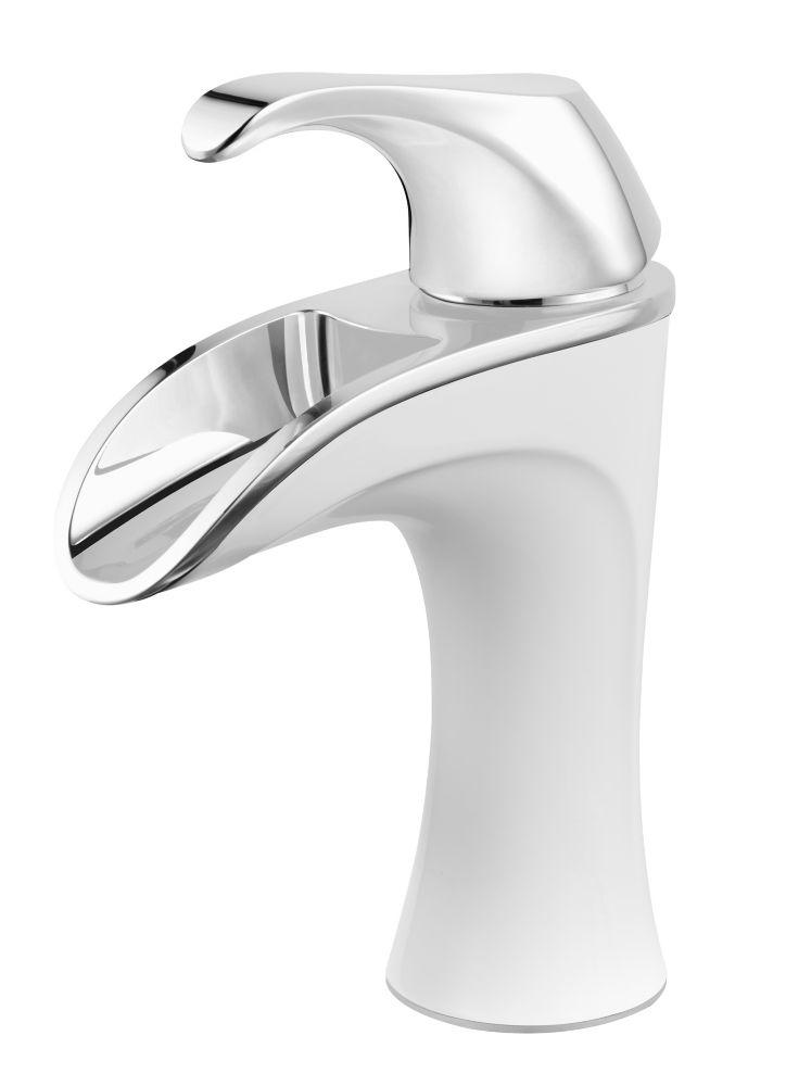 Brea Single-Handle Bathroom Faucet in Chrome/White Finish