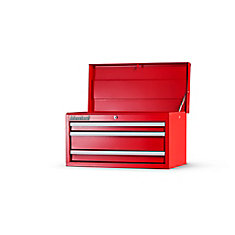 27 Inch. 3 Drawer Top Chest, Red