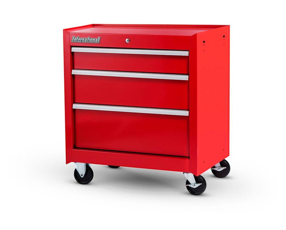 27 Inch. 3 Drawer Cabinet, Red