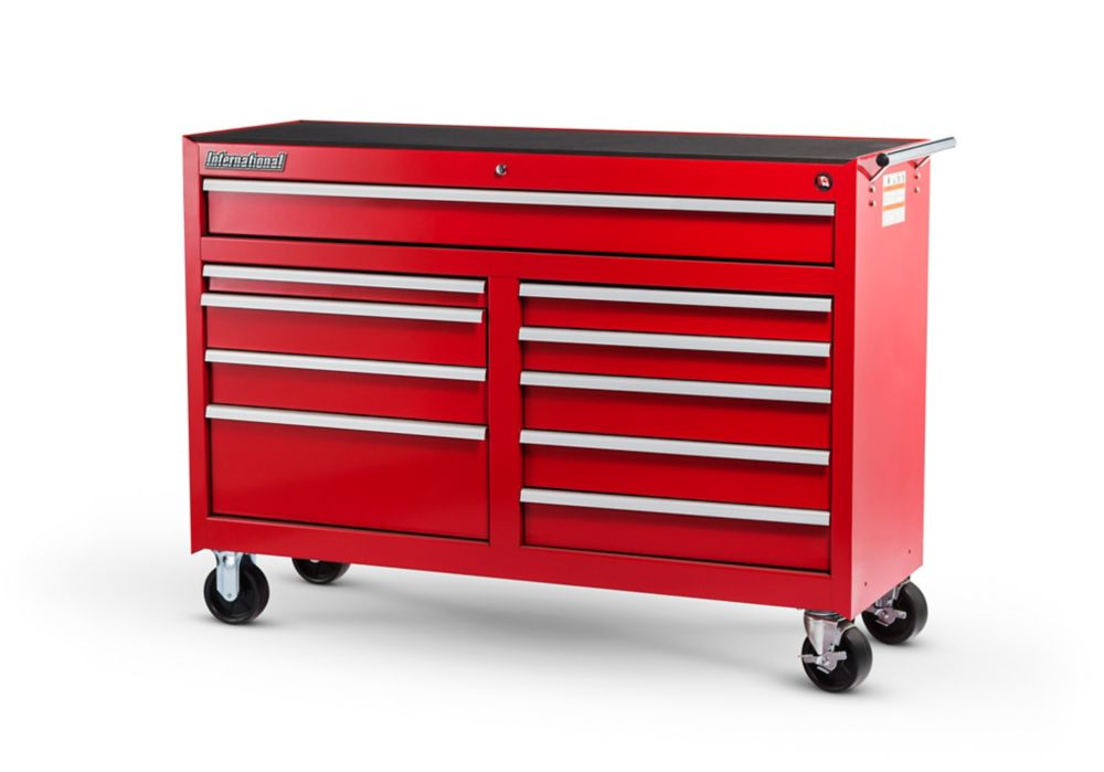 54 Inch. 10 Drawer Cabinet, Red