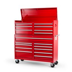 International 54-inch 17-Drawer Roller Cabinet Tool Chest in Red