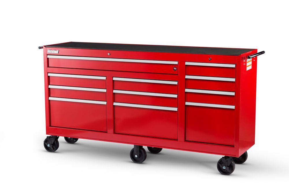 73 Inch. 11 Drawer Cabinet, Red
