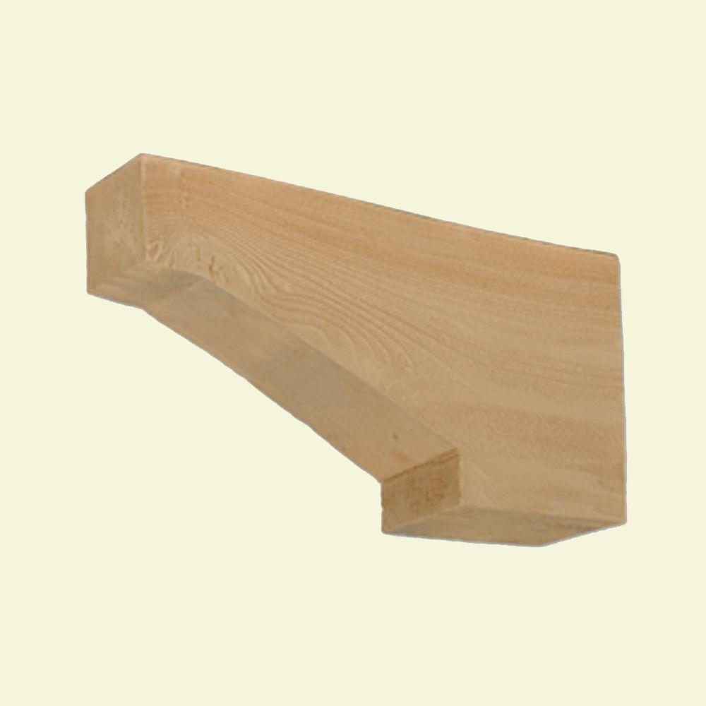 Console en polyuréthane à texture de grain de bois non fini 18 po x 3 po x 9 po