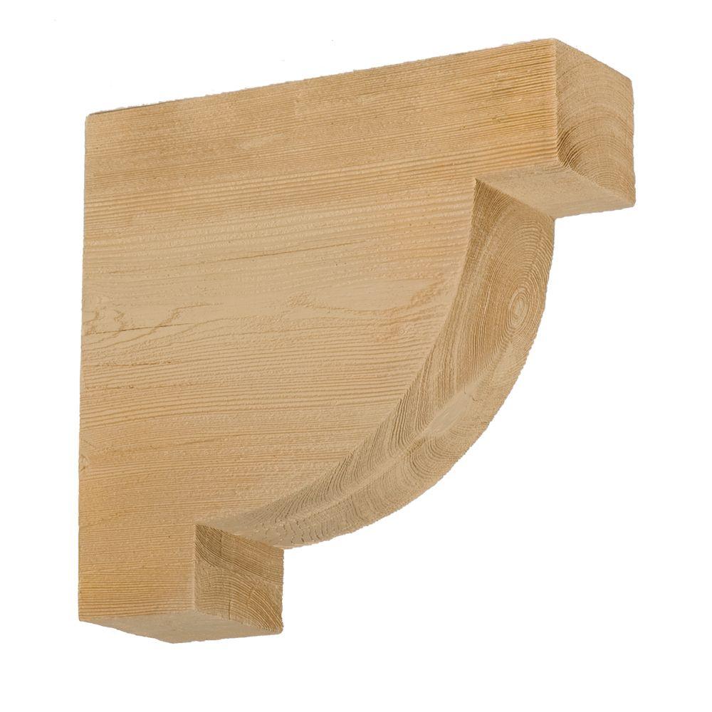 Console en polyuréthane à texture de grain de bois non fini 12 po x 12 po x 4 po