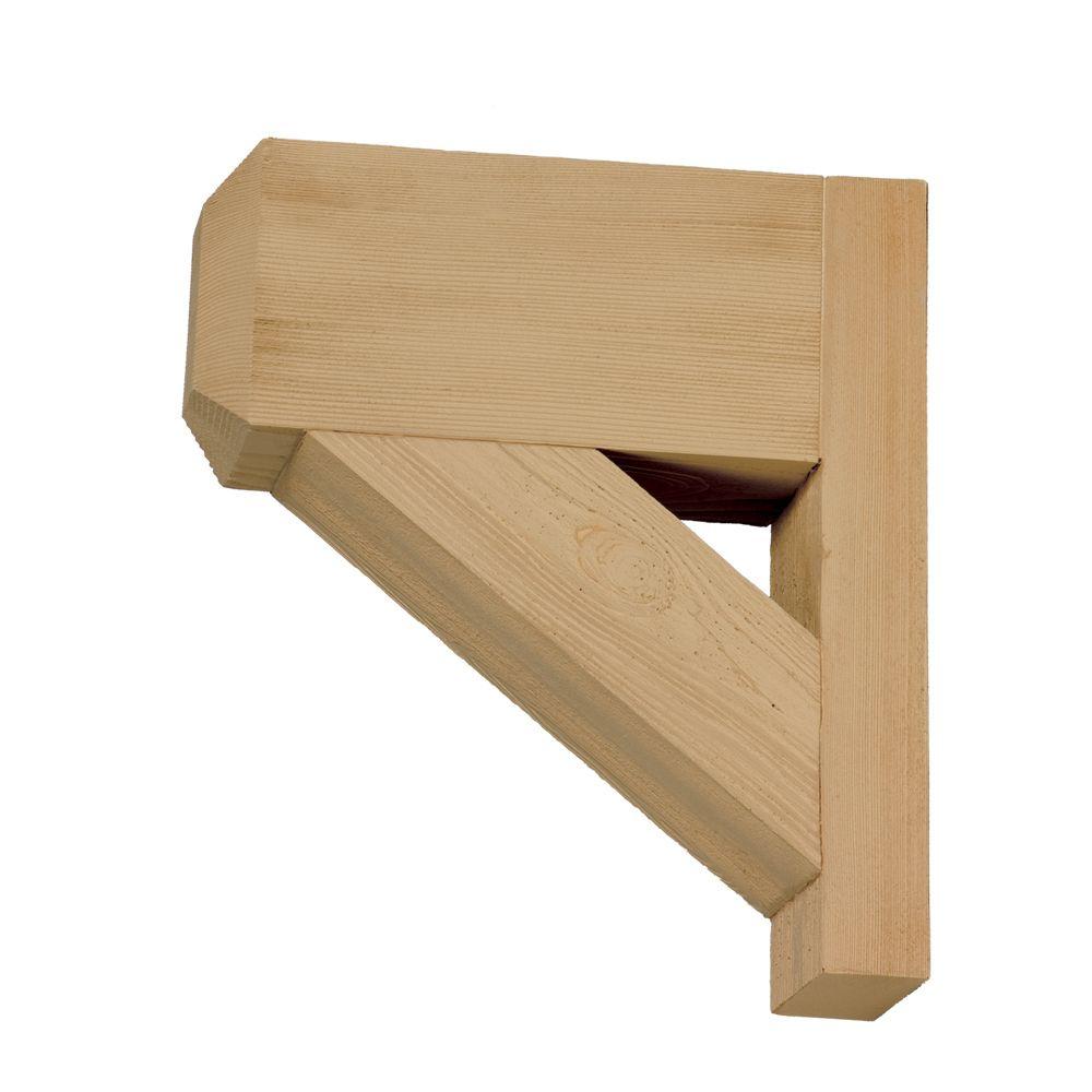 Console en polyuréthane à texture de grain de bois non fini 14 po x 16 po x 3-1/2 po