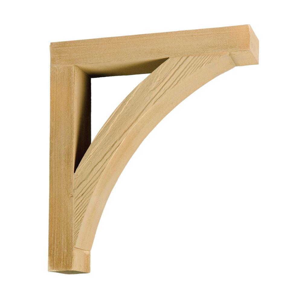 Console en polyuréthane à texture de grain de bois non fini 16 po x 18 po x 4 po