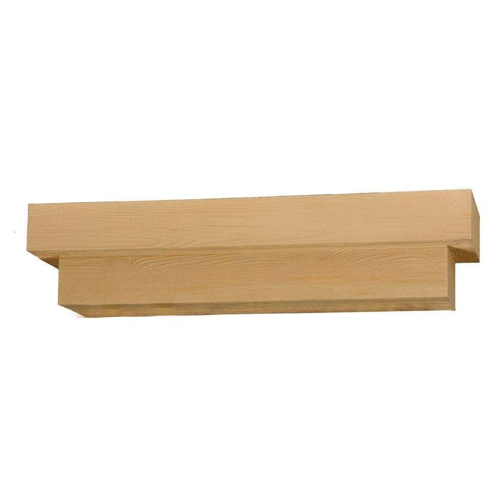 Étagère décorative carrée à texture de grain de bois 72 po x 8 po x 10 po