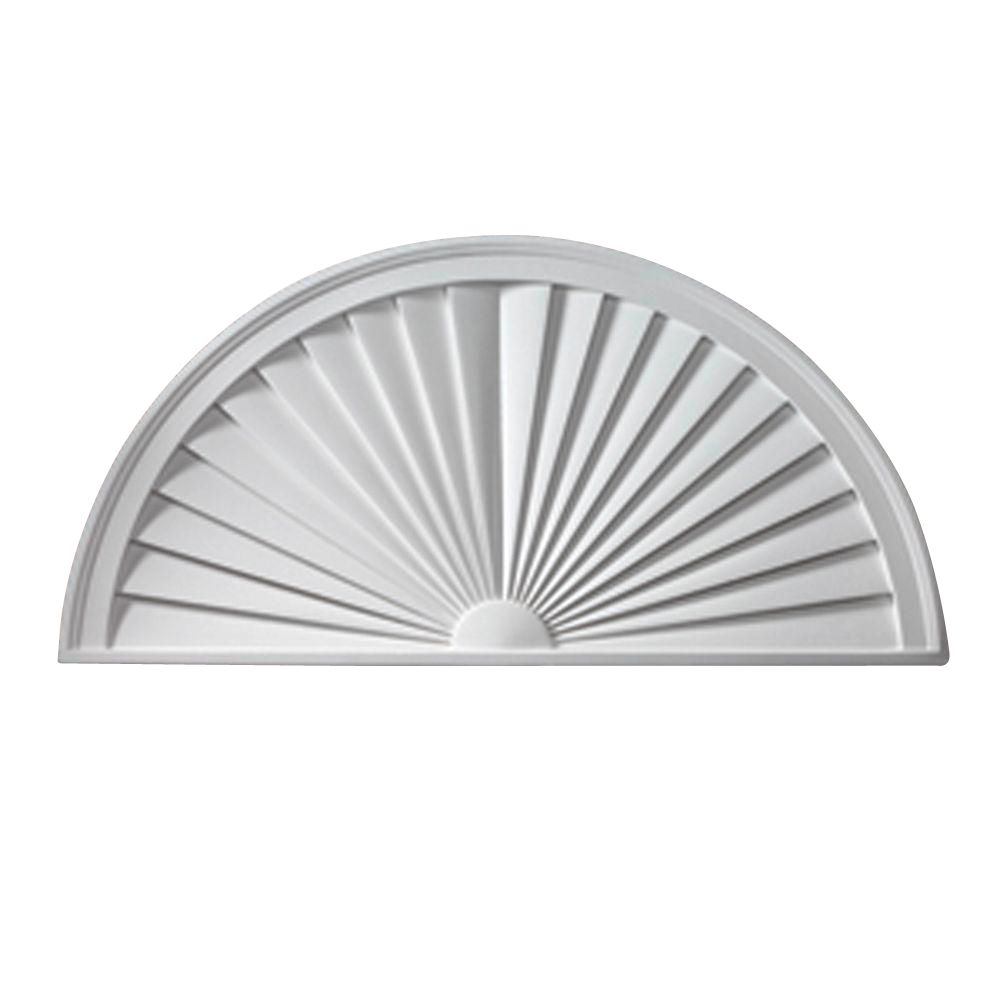 24 Inch x 12 Inch x 1-3/4 Inch Smooth Half Round Sunburst Pediment