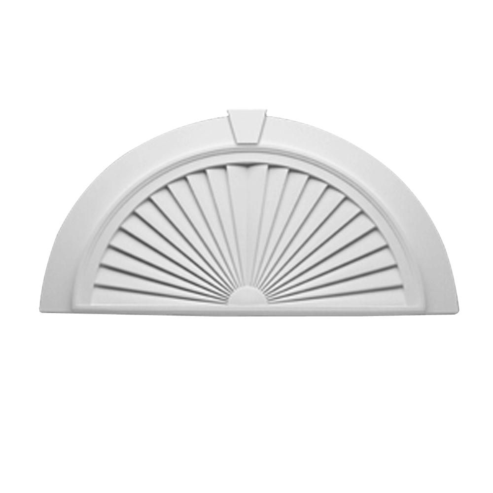 43 Inch x 22-7/16 Inch x 2-1/4 Inch Half Round Sunburst Pediment with Smooth Trim and Keystone