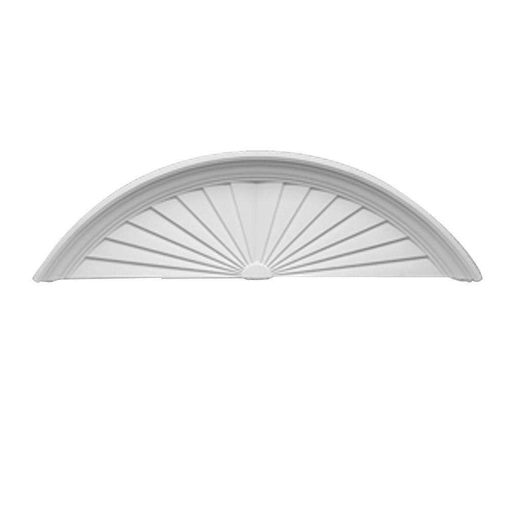 76 Inch x 15 Inch x 1-3/4 Inch Smooth Segment Sunburst Pediment