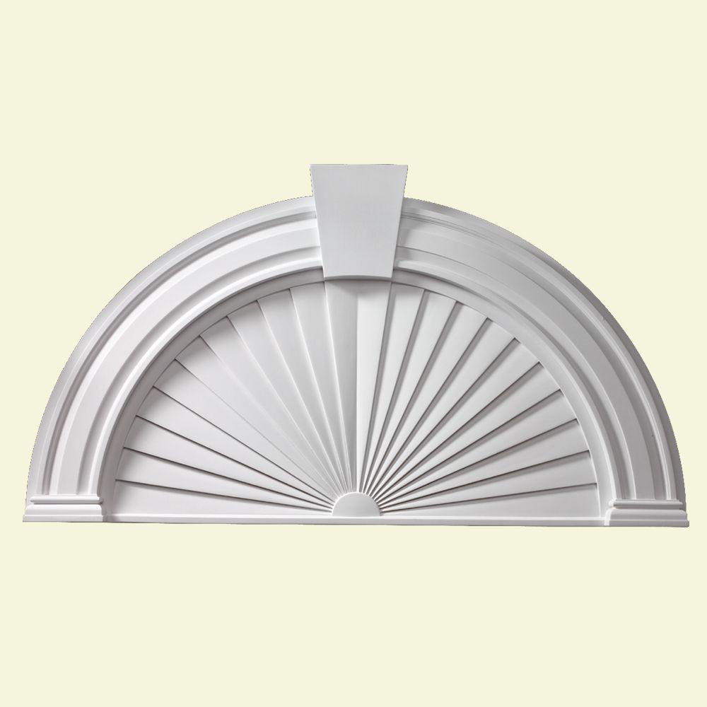 54 Inch x 29 Inch x 2-1/2 Inch Half Round Sunburst Pediment with Smooth Keystone AR40X54PSK in Canada