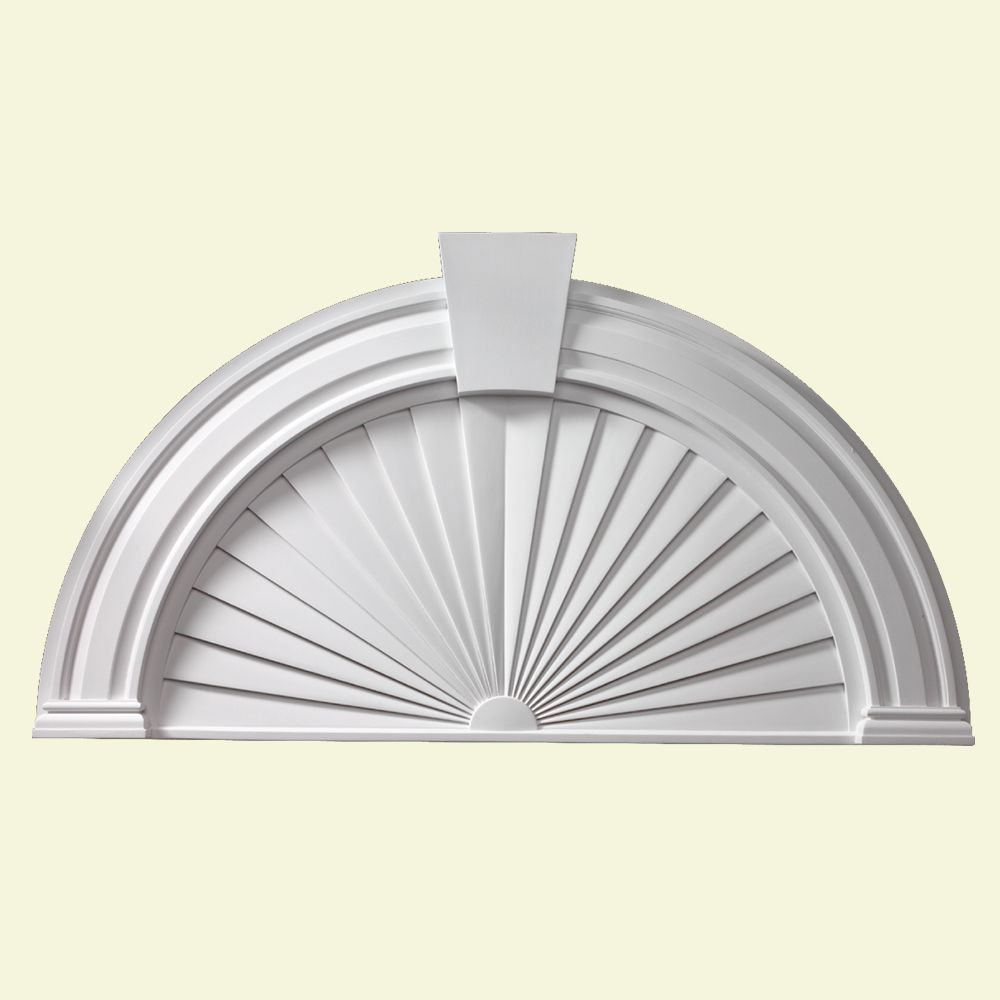 54 Inch x 29 Inch x 2-1/2 Inch Half Round Sunburst Pediment with Smooth Keystone