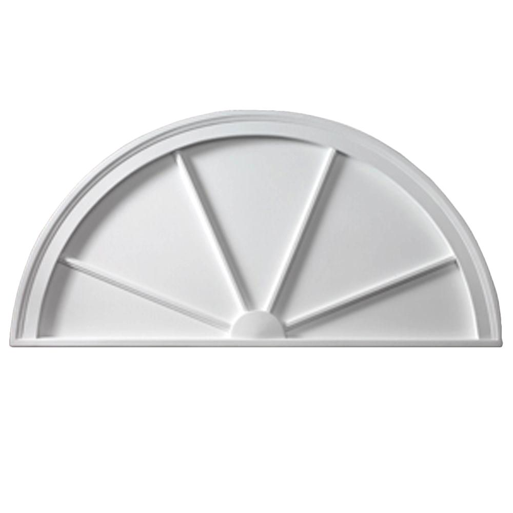 48 Inch x 24 Inch x 1-3/4 Inch Smooth Half Round Spoked Pediment HRSP48X24 in Canada