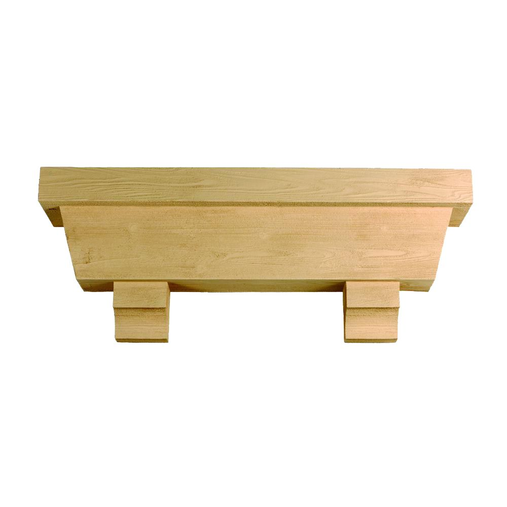 122 Inch x 18 Inch x 10 Inch Tapered Pot Shelf with Wood Grain Texture Block