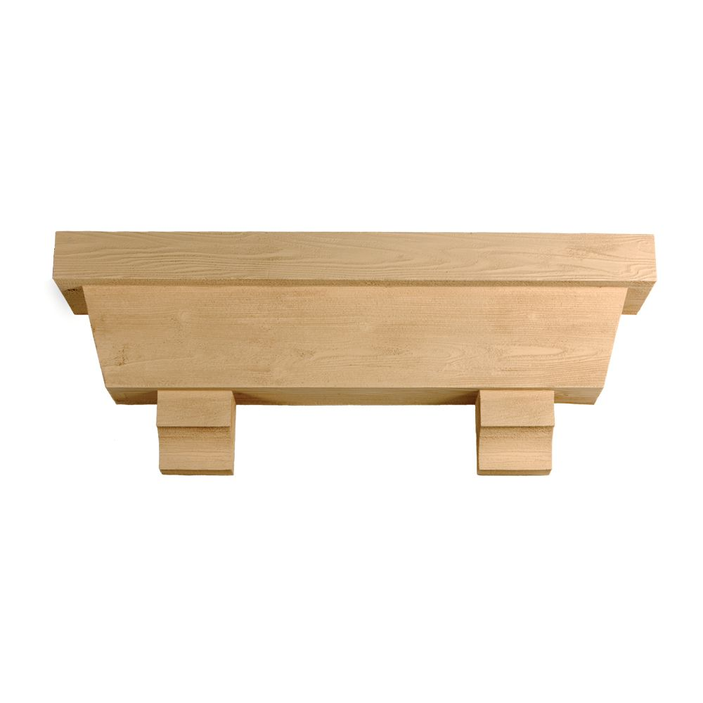 48 Inch x 18 Inch x 10 Inch Tapered Pot Shelf with Wood Grain Texture Block