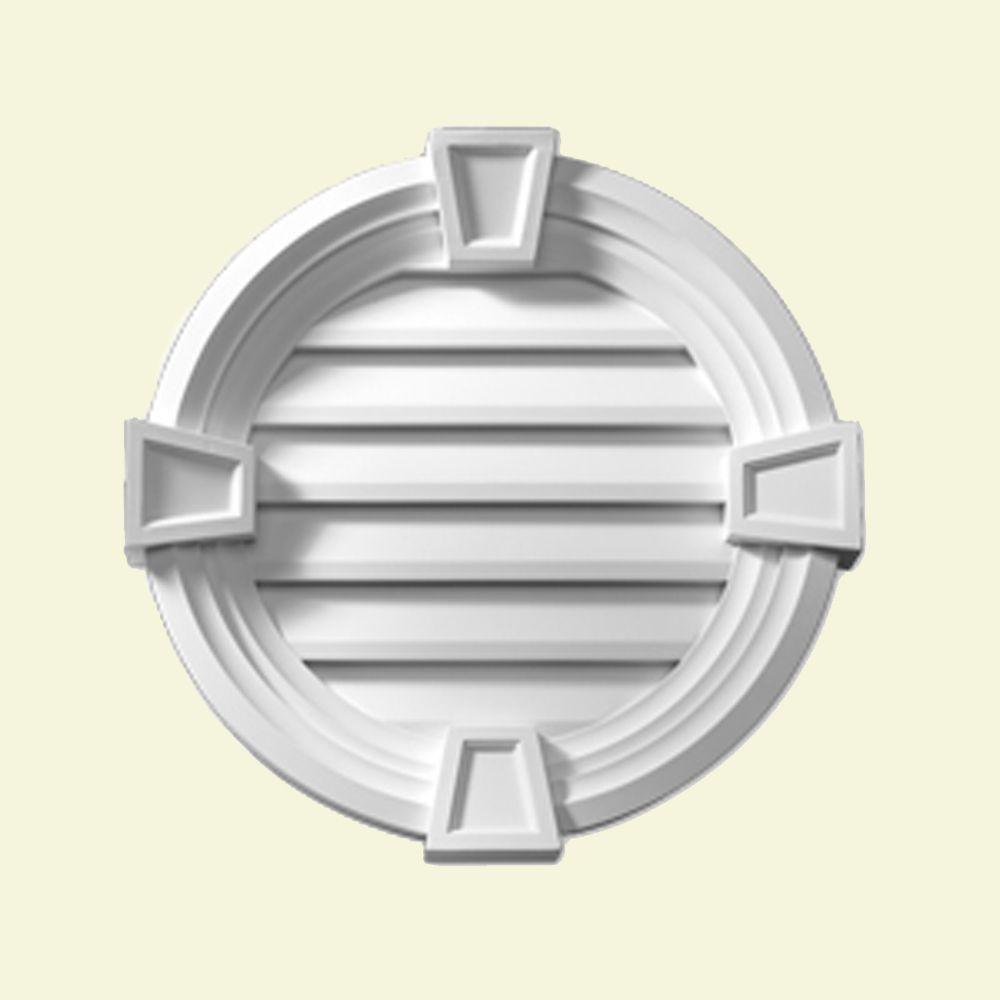 Évent de pignon décoratif rond à persiennes avec bordure décorative et clé de voûte en polyurétha...