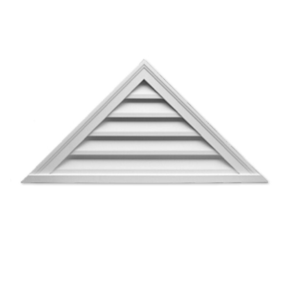 Évent de pignon décoratif triangulaire à persiennes en polyuréthane 60 po x 30 po x 2 po