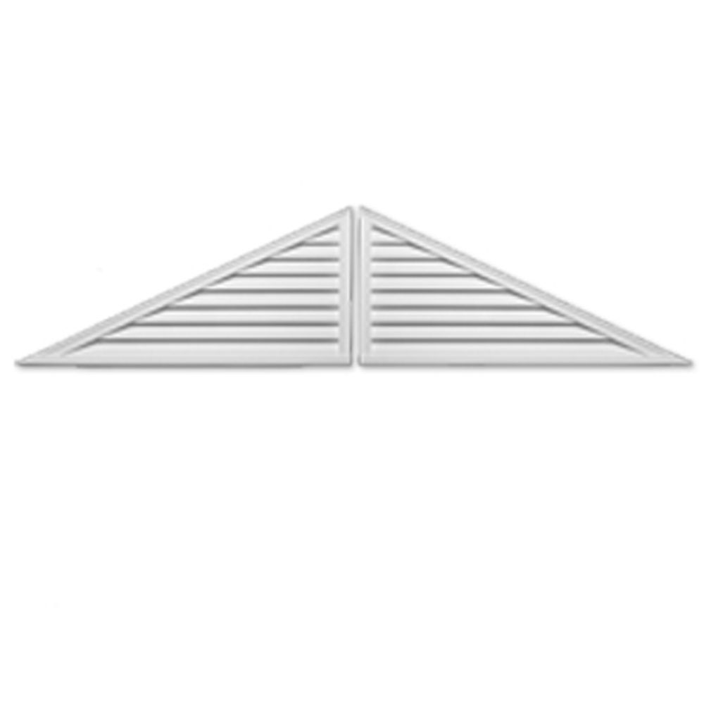 60 Inch x 25 Inch x 2 Inch Two-Piece Polyurethane Decorative Triangle Louver Gable Grill Vent