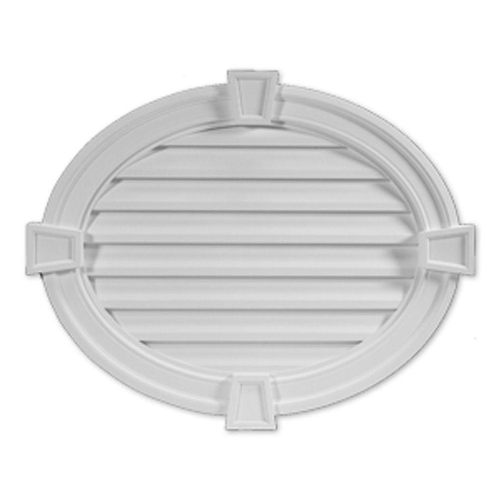 Évent de pignon fonctionnel ovale horizontal à persiennes avec bordure décorative et clé de voûte...