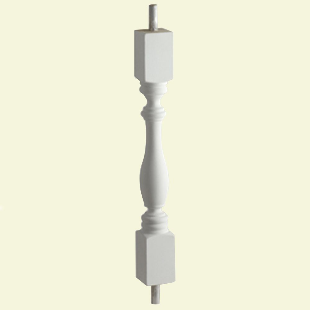 32 Inch x 2-1/2 Inch x 2-1/2 Inch Polyurethane Smooth Surface Woodruff Baluster for 5 Inch Balust...