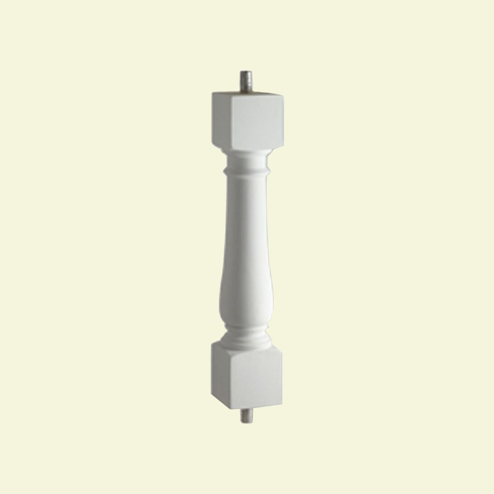 24 Inch x 5 Inch x 5 Inch Polyurethane Smooth Surface Ashley Baluster for 7 Inch Balustrade Syste...