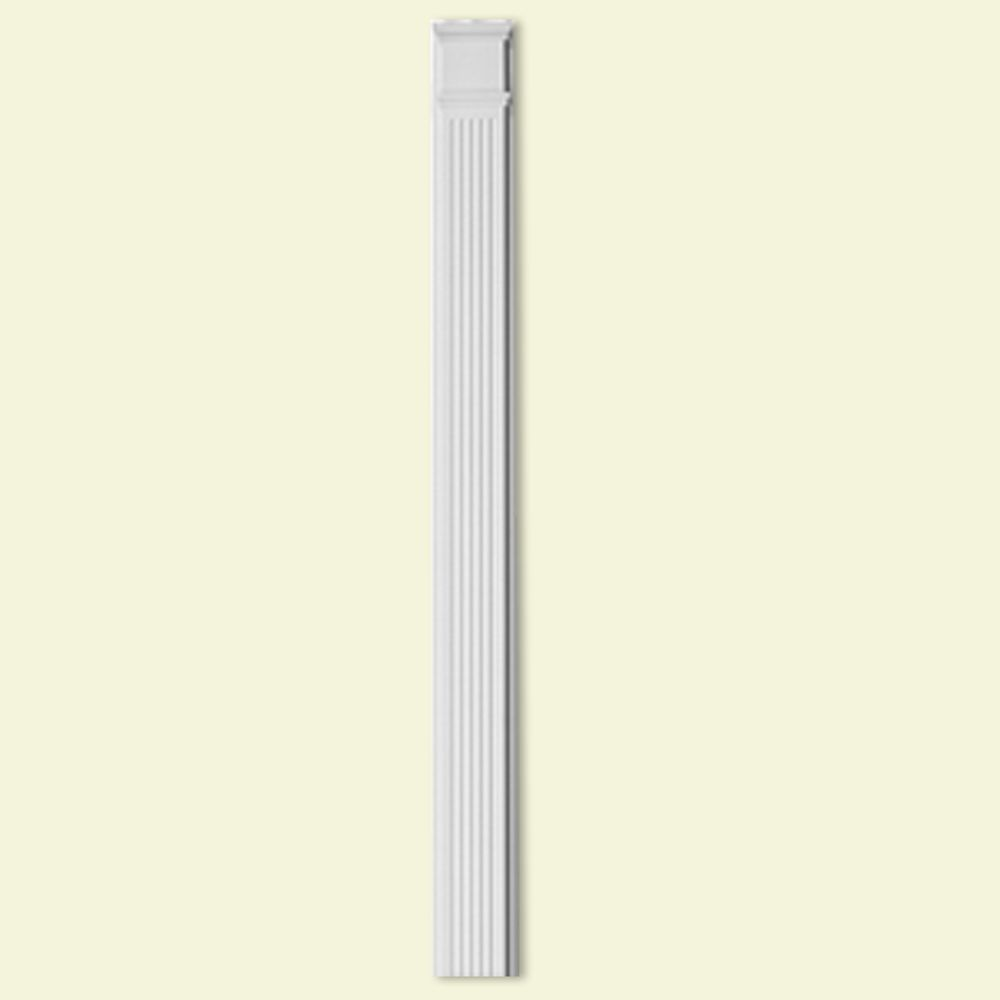 8 Inch x 90 Inch Polyurethane Fluted Pilaster with 13 Inch Adjustable Plinth Block