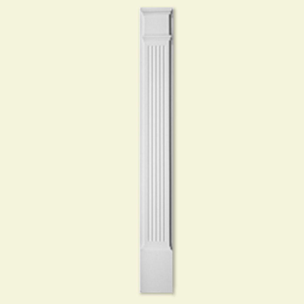 Pilastre à moulure cannelée en polyuréthane de 6-1/4 po x 90 po avec bloc de plinthe de 13-3/16 p...