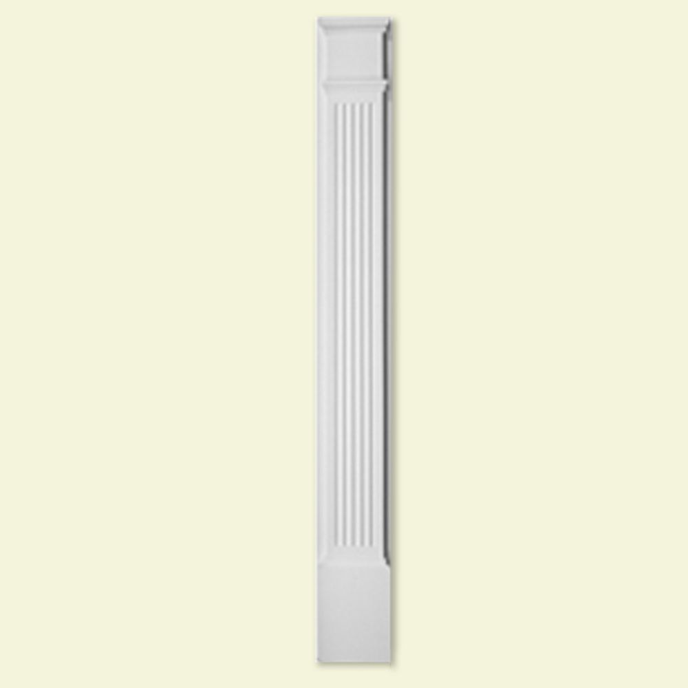 Pilastre à moulure cannelée en polyuréthane de 9 po x 90 po avec bloc de plinthe de 14-1/2 po