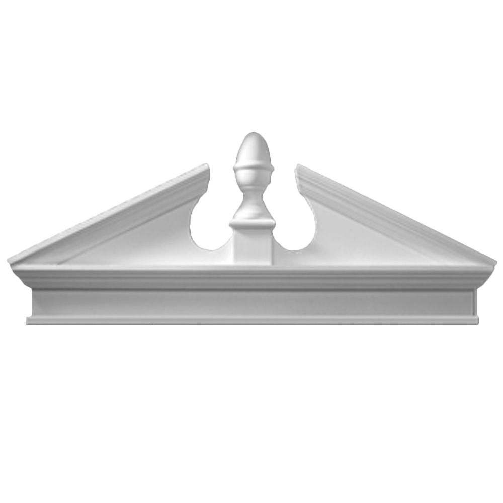 54 Inch x 22-3/8 Inch x 3-1/8 Inch Combo Acorn Pediment with Smooth Trim Bottom