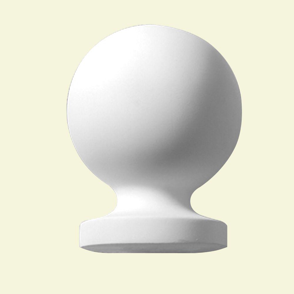 Capuchon de pilastre lisse de style boule en polyuréthane 6-3/4 po x 5-1/4 po x 5-1/4 po