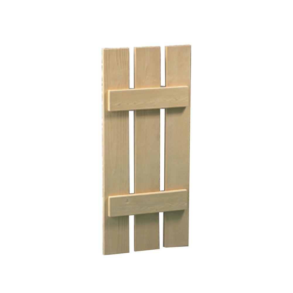 Volet à 3 planches et à tasseaux à texture de grain de bois 48 po x 20 po x 1-1/2 po