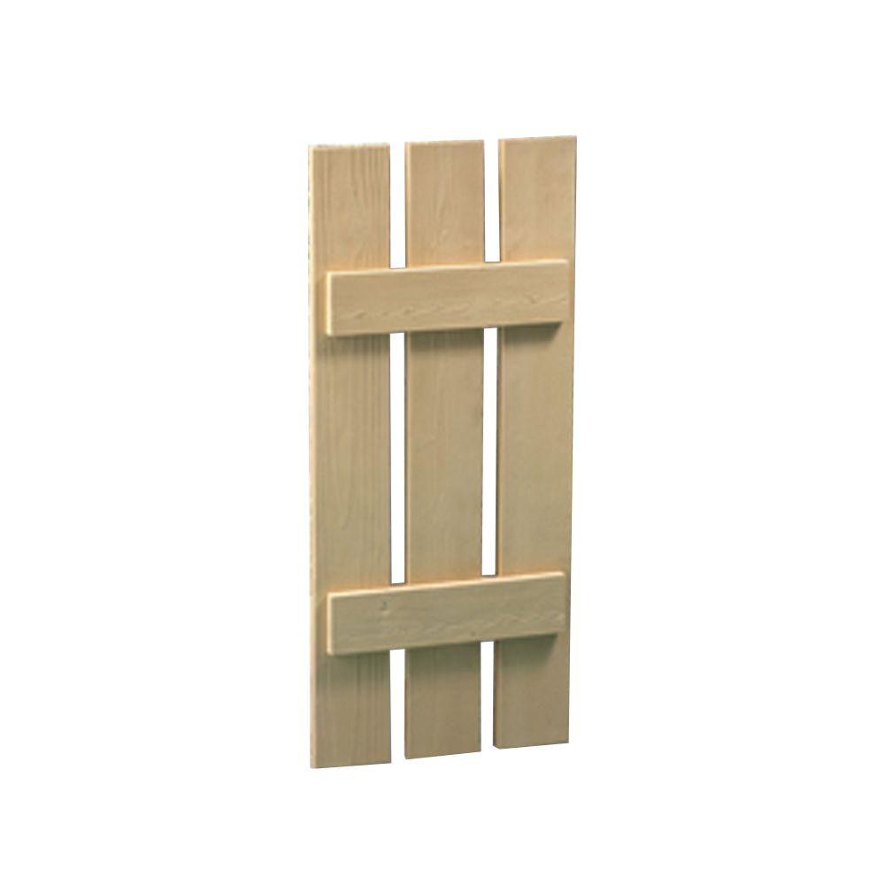 66 Inch x 20 Inch x 1-1/2 Inch Wood Grain Texture 3-Plank Board and Batten Shutter