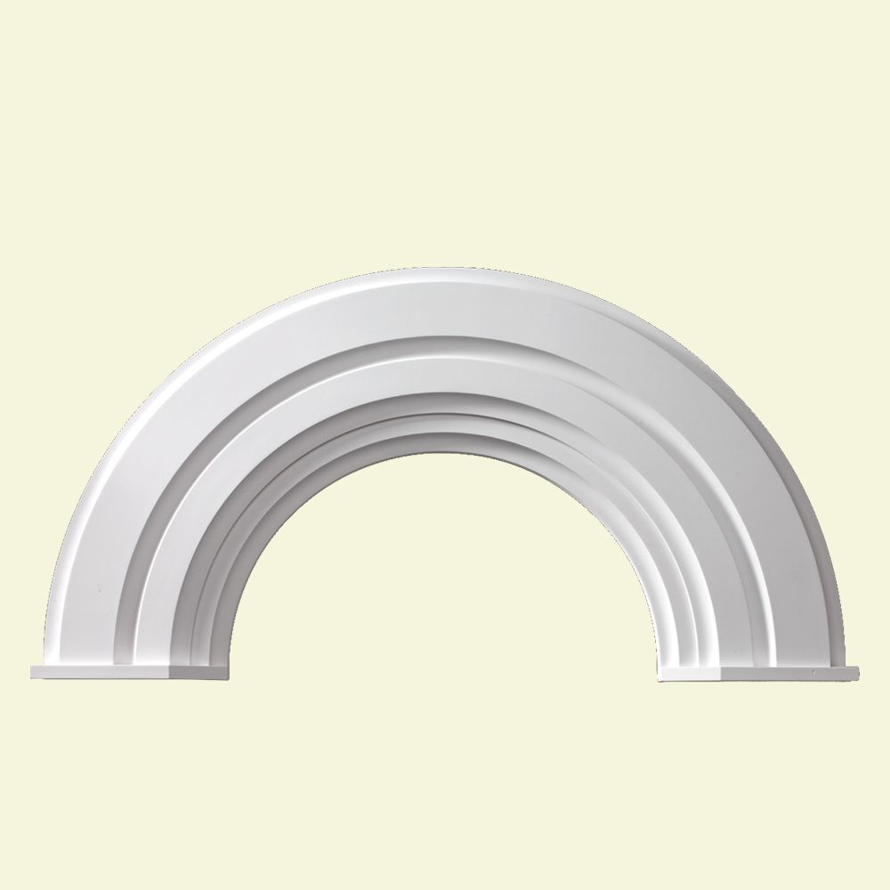 56 Inch x 28-3/4 Inch x 2-3/8 Inch Polyurethane Half Round Arch Decorative Trim with End Cap AR36X10MC in Canada