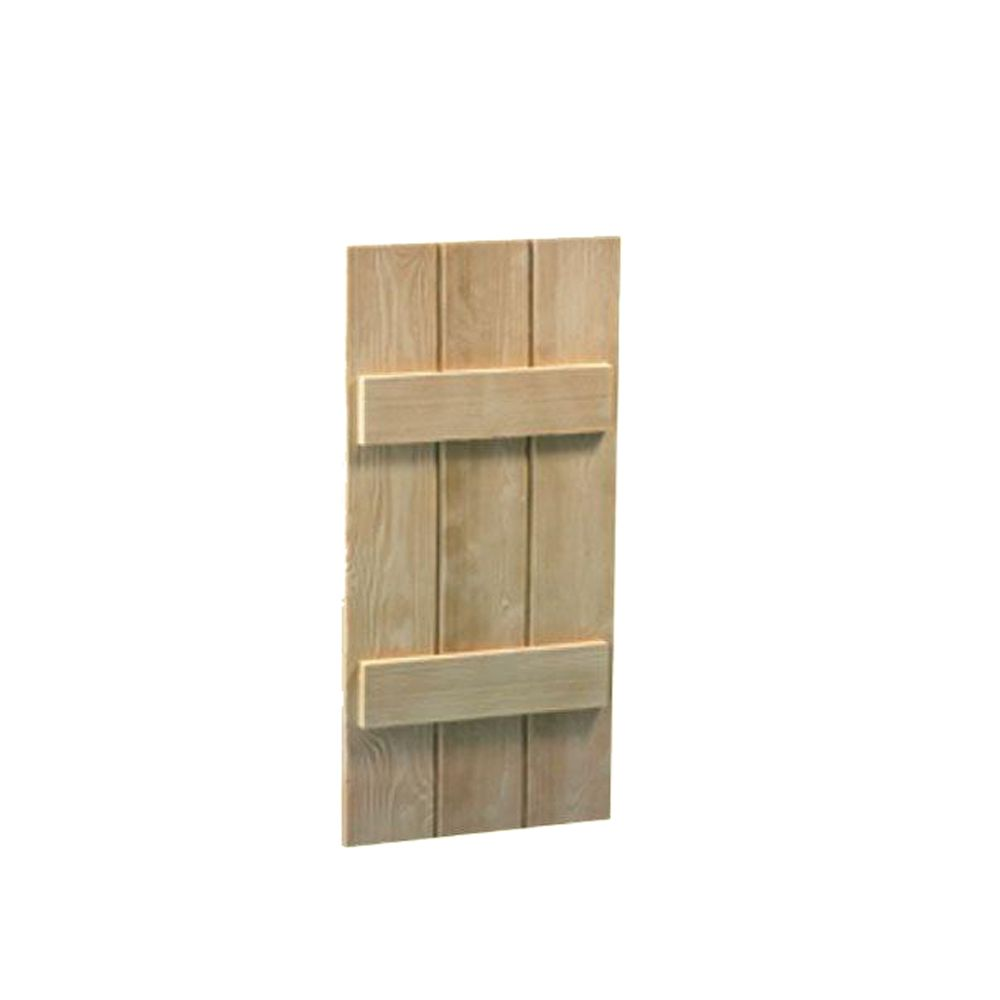 59 Inch x 14 Inch x 1-1/2 Inch Wood Grain Texture 3-Board and Batten Shutter