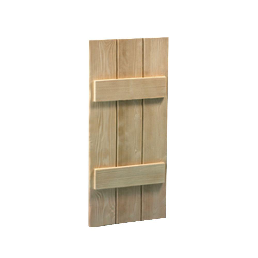 Volet à 3 planches et à tasseaux à texture de grain de bois 36 po x 16 po x 1-1/2 po