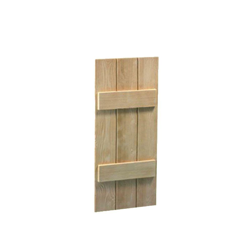 60 Inch x 18 Inch x 1-1/2 Inch Wood Grain Texture 3-Board and Batten Shutter