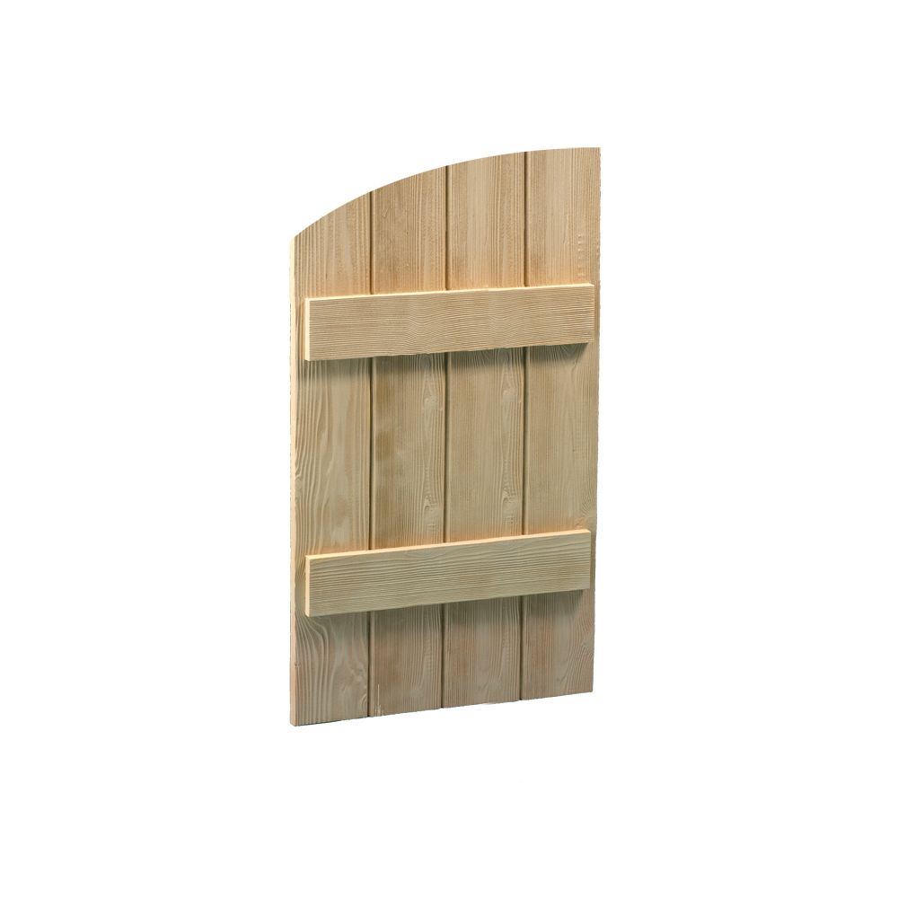 Volet arqué à 4 planches et à tasseaux à texture de grain de bois 60 po x 24 po x 1-1/2 po