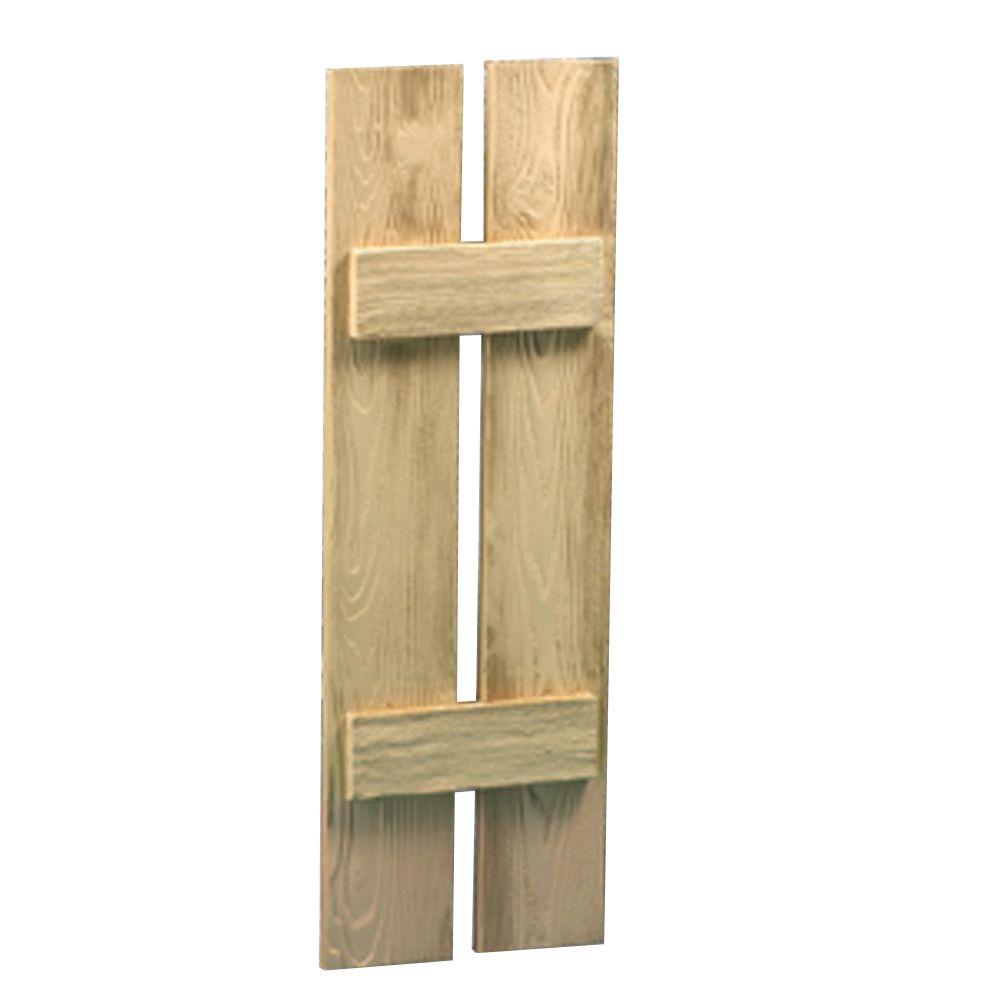 42 Inch x 12 Inch x 1-1/2 Inch Wood Grain Texture 2-Plank Board and Batten Shutter