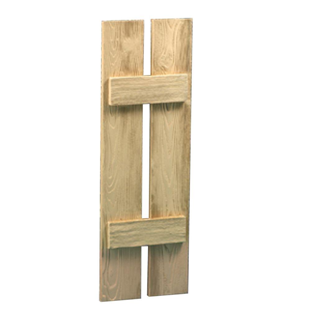 Volet à 2 planches et à tasseaux à texture de grain de bois 48 po x 12 po x 1-1/2 po