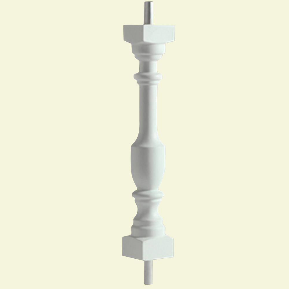 28 Inch x 3 Inch x 3 Inch Polyurethane Smooth Surface Logan Baluster for 5 Inch Balustrade System