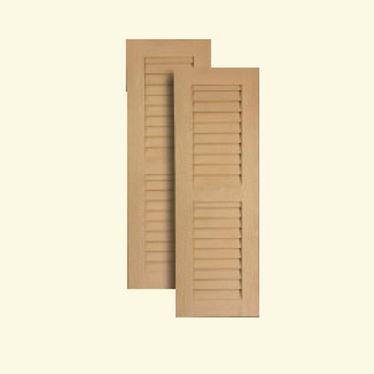 18 Inch x 72 Inch Louvered Shutters Pair Primed White